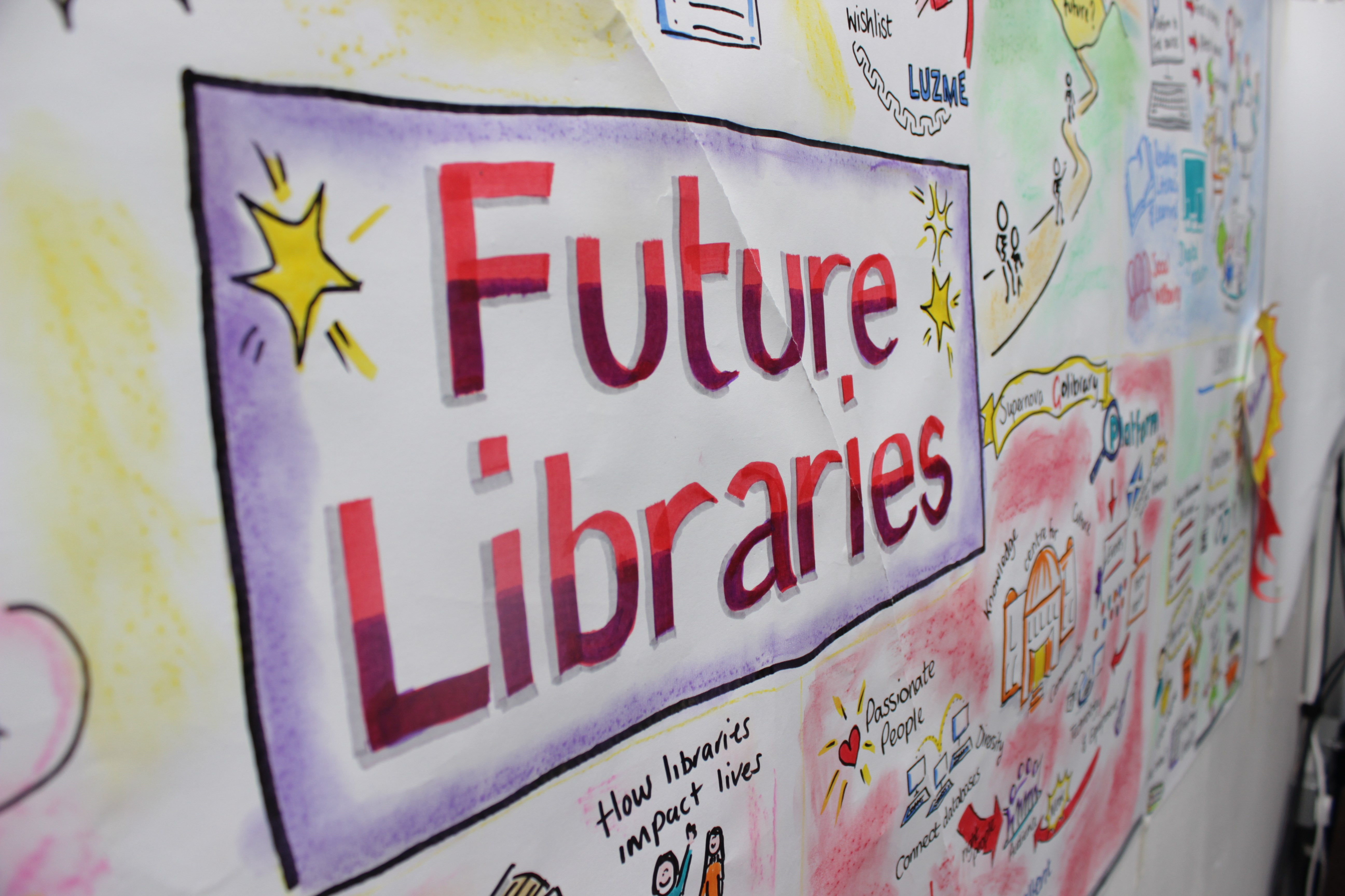Colourful shot of the Future Libraries inspiration wall, part of the 2016 SLIC/Carnegie UK Hackathon event.