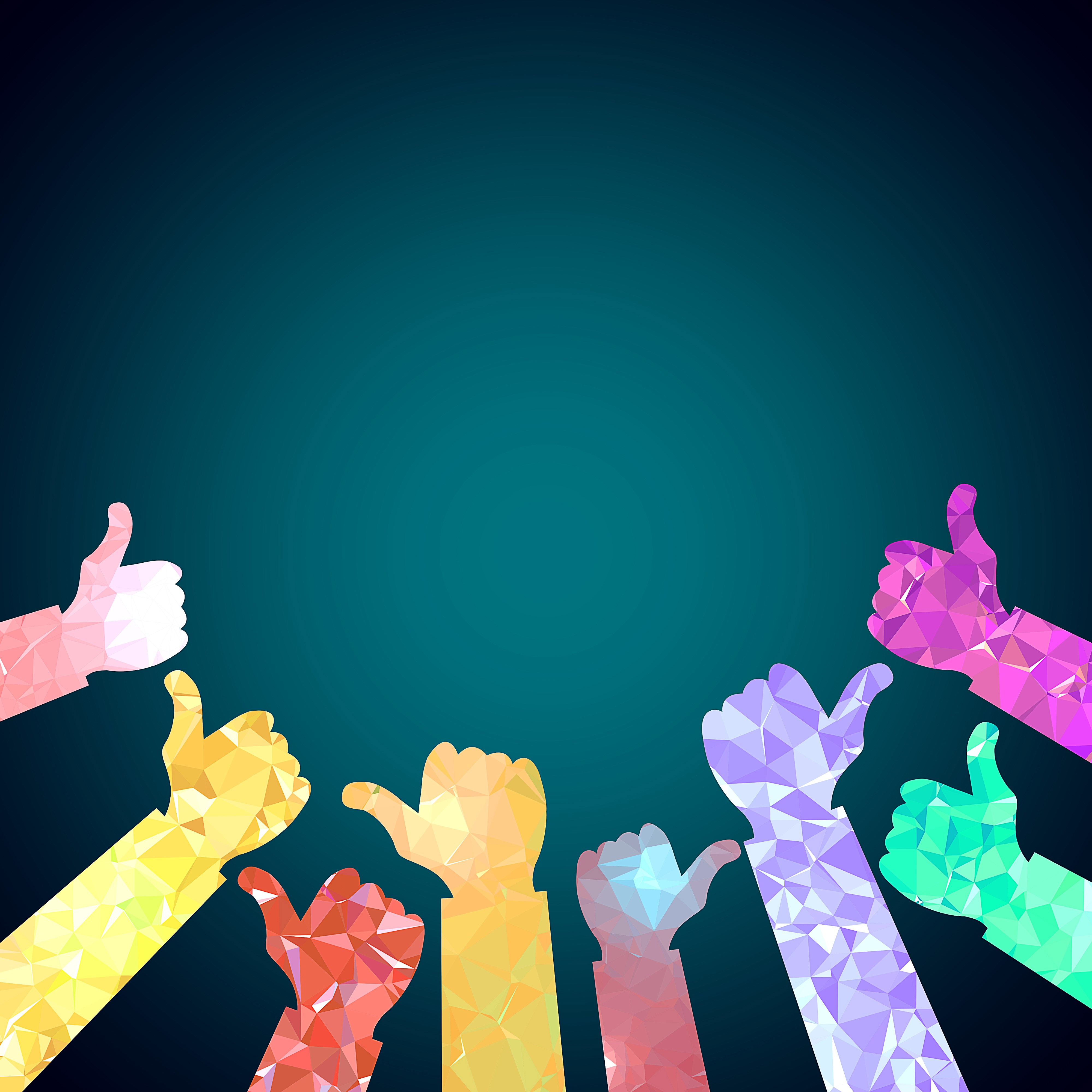 Image showing a group of 'thumbs up' hands (free image)